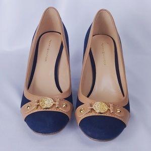Tommy Hilfiger Navy Canvas Heels. 6.5